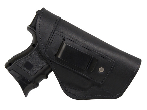 Black Leather Inside the Waistband Holster for Compact Sub-Compact 9mm 40 45 Pistols