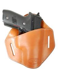 Saddle Tan Leather Pancake Belt Slide Holster for Full Size 9mm 40 45 Pistols
