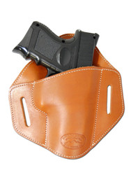 Saddle Tan Leather Pancake Belt Slide Holster for Compact Sub-Compact 9mm 40 45 Pistols