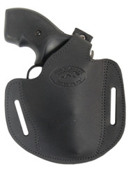 "Black Leather Pancake Holster for .22 .38 .357 2"" Revolvers"