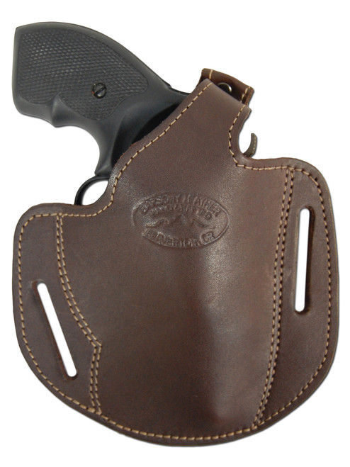 """Brown Leather Pancake Holster for 2"""" .22 .38 .357 Revolvers"""