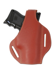 Burgundy Leather Pancake Holster for Compact Sub-Compact 9mm 40 45 Pistols