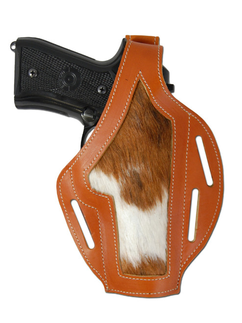 Tan Leather Hair On Hide Inlay Pancake Holster for Full Size 9mm 40 45 Pistols