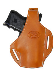 Saddle Tan Leather Pancake Holster for Compact Sub-Compact 40 45 Pistols