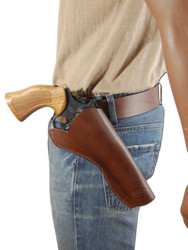 """Brown Leather Cross Draw Holster for 6"""" Revolvers"""