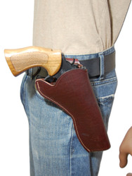 """Burgundy Leather Cross Draw Holster for 6"""" Revolvers"""