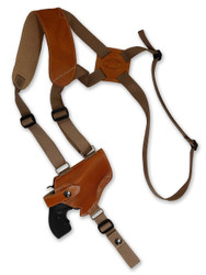 "Saddle Tan Leather Horizontal Shoulder Holster for 2"" Snub Nose Revolvers"