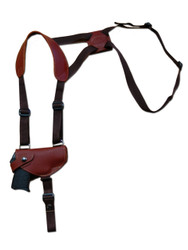 Burgundy Leather Horizontal Shoulder Holster for .380 Ultra Compact 9mm .40 .45 Pistols