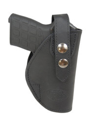 Black Leather OWB Holster for .380, Ultra-Compact 9mm 40 45 Pistols