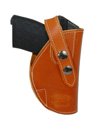 Saddle Tan Leather OWB Holster for .380, Ultra-Compact 9mm 40 45 Pistols