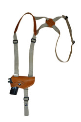 Saddle Tan Leather Horizontal Shoulder Holster for Mini/Pocket 22 25 380 Pistols