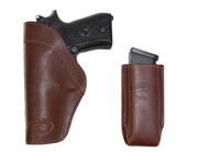 Brown Leather Inside the Waistband Holster + Magazine Pouch for Full Size 9mm 40 45 Pistols