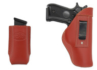 Burgundy Leather Inside the Waistband Holster + Magazine Pouch for Full Size 9mm 40 45 Pistols