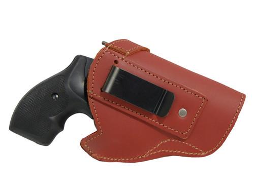 "Burgundy Leather Inside the Waistband Holster for 2"", Snub Nose .38 .357 Revolvers"