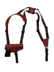 Burgundy Leather Horizontal Shoulder Holster for Full Size 9mm 40 45 Pistols
