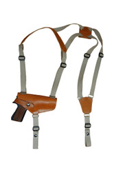 Saddle Tan Leather Horizontal Shoulder Holster for Full Size 9mm 40 45 Pistols