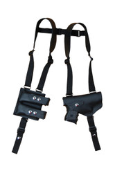 Black Leather Horizontal Shoulder Holster with Double Magazine Pouch for Compact 9mm .40 .45 Pistols