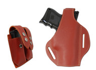 New Burgundy Leather Pancake Holster + Double Magazine Pouch for Compact 9mm 40 45 Pistols (#C59BU)