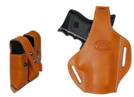 New Saddle Tan Leather Pancake Holster + Double Magazine Pouch for Compact 9mm 40 45 Pistols (#C59ST)