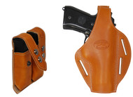 New Saddle Tan Leather Pancake Holster + Double Magazine Pouch for Full Size  9mm 40 45 Pistols (#C58-5ST)