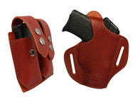 New Burgundy Leather Pancake Gun Holster + Double Magazine Pouch Combo for Small 380, Ultra Compact 9mm 40 45 Pistols (#C57BU)