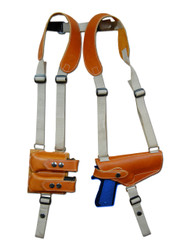 Saddle Tan Leather Horizontal Shoulder Holster with Magazine Pouch for Full Size 9mm .40 .45 Pistols