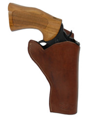 "Brown Leather Cross Draw Holster for 4"" Revolvers"