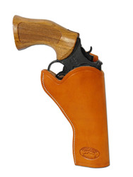 """New Saddle Tan Leather Cross Draw Gun Holster for 4"""" Revolvers (#CR4ST)"""