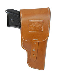 Saddle Tan Leather Flap Holster for Full Size 9mm .40 .45 Pistols