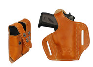 New Saddle Tan Leather Pancake Holster + Double Magazine Pouch for Mini/Pocket .22 .25 .380 .32 Pistols(#C57sST)