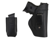 Black Leather Inside the Waistband Holster + Magazine Pouch for Compact Sub-Compact 9mm 40 45 Pistols