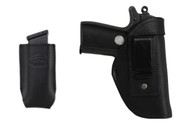 Black Leather Inside the Waistband Holster + Single Magazine Pouch for 380, Ultra Compact 9mm 40 45 Pistols