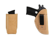New Natural Tan Leather Inside the Waistband (IWB) Gun Holster + Single Magazine Pouch for Small 380, Ultra-Compact 9mm 40 45 Pistols (#C68/4NT)