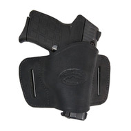 Black Leather Quick Slide Holster for 380 Ultra Compact 9mm 40 45 Pistols
