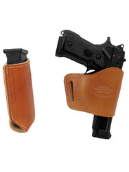 New Saddle Tan Leather Yaqui Holster + Single Magazine Pouch for Full Size 9mm 40 45 Pistols (#C21ST)