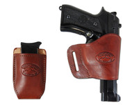 New Burgundy Leather Yaqui Holster + Single Magazine Pouch for Full Size 9mm 40 45 Pistols (#C21BU)