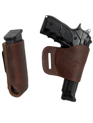 New Brown Leather Yaqui Holster + Single Magazine Pouch for Full Size 9mm 40 45 Pistols (#C21BR)