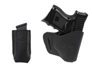 New Black Leather Yaqui Holster + Single Magazine Pouch for Compact Sub-Compact 9mm 40 45 Pistols (#C20BL)