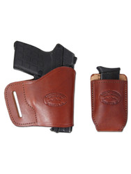 New Burgundy Leather Yaqui Holster + Single Magazine Pouch for Compact Sub-Compact 9mm 40 45 Pistols (#C20BU)
