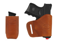 New Saddle Tan Leather Yaqui Holster + Single Magazine Pouch for Compact Sub-Compact 9mm 40 45 Pistols (#C20ST)