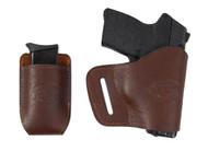 Brown Leather Yaqui Holster + Single Magazine Pouch for 380 Ultra Compact 9mm 40 45 Pistols