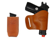 Saddle Tan Leather Yaqui Holster + Single Magazine Pouch for 380 Ultra Compact 9mm 40 45 Pistols