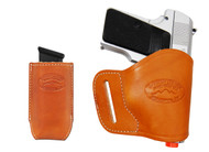 Saddle Tan Leather Yaqui Holster + Single Magazine Pouch for Mini/Pocket 22 25 32 380 Pistols