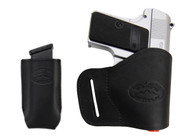 Black Leather Yaqui Holster + Single Magazine Pouch for Mini/ Pocket 22 25 32 380 Pistols