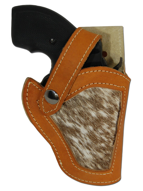 """Saddle Tan Leather Hair on Hide Inlay Holster for 2"""", Snub-Nose .38 .357 Revolvers"""