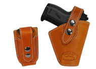 New Saddle Tan Leather OWB Belt Gun Holster + Single Magazine Pouch for Mini .22 .25 .32 .380 Pistols (#C10ST)
