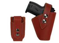 New Burgundy Leather OWB Belt Gun Holster + Single Magazine Pouch for Mini .22 .25 .32 .380 Pistols (#C10BU)