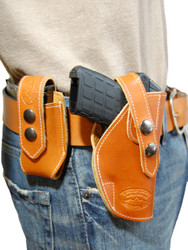 Saddle Tan Leather OWB Holster + Single Magazine Pouch for .380, Ultra-Compact 9mm 40 45 Pistols