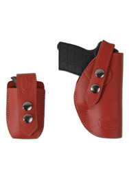 New Burgundy Leather OWB Belt Gun Holster + Single Magazine Pouch for .380, Ultra-Compact 9mm 40 45 Pistols (#C12BU)