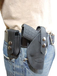 Black Leather OWB Holster + Single Magazine Pouch for .380, Ultra-Compact 9mm 40 45 Pistols